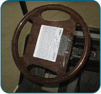 Steering wheel with peach color